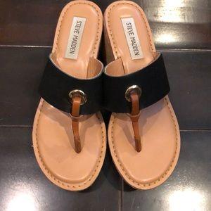 Steve Madden cork wedge sandals like new!
